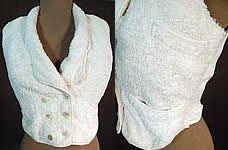 Victorian White Cotton French Towell Terry Cloth Double Breasted Waistcoat Vest