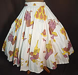 Vintage Cotton French Provincial Picnic Novelty Print Circle Skirt Tulle Net Petticoat
