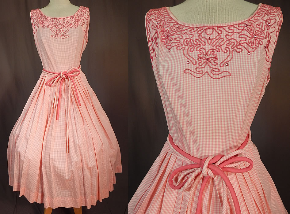 Vintage Henry Allen Montreal Pink White Cotton Check Gingham Circle Skirt Dress