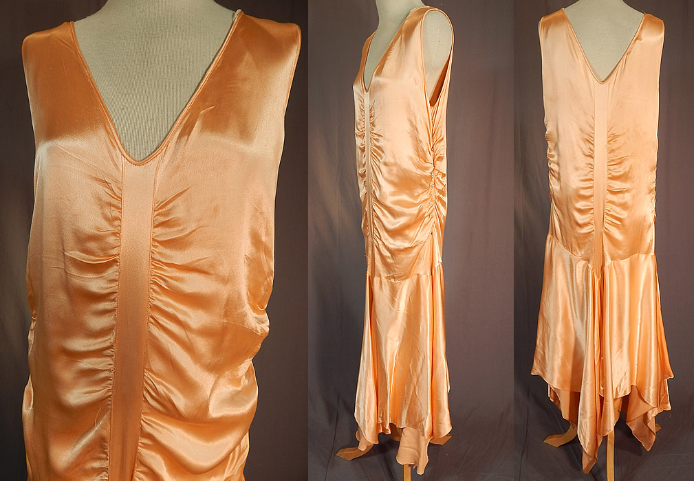 Vintage Peach Silk Satin Charmeuse Handkerchief Hem Skirt Drop Waist Flapper Dress