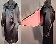 Vintage Art Deco Black Silk Pink Lined Detachable Cape Opera Coat Evening Jacket