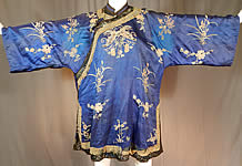 Antique Chinese Royal Blue Silk Forbidden Stitch Embroidered Butterfly Robe