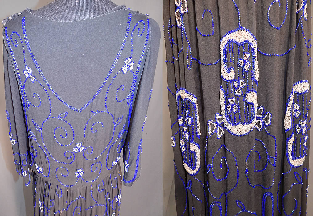 Vintage Art Deco Black Silk Pink & Cobalt Blue Beaded Spiral Floral Flapper Dress