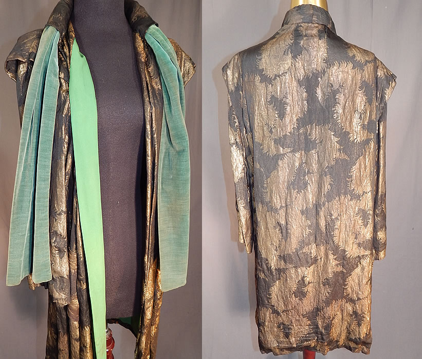 Vintage Art Deco Black Silk Gold Lamé Lame Feather Flapper Coat Jacket