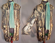 Vintage Art Deco Black Silk Gold Lamé Lame Feather Flapper Coat Green Scarf Jacket