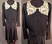Vintage Black Silk Crepe de Chine Cream Lace Collar Bias Cut Dress