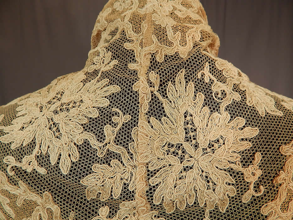 Edwardian Cream Bretonne Needle Run Lace Dress Trim Lappet Shawl Collar
