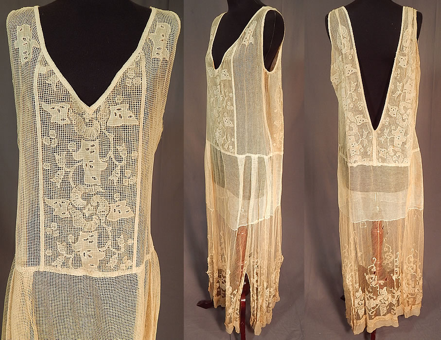 Vintage Cream Crochet Fishnet Embroidered Eyelet Lace Handkerchief Drop Waist Dress