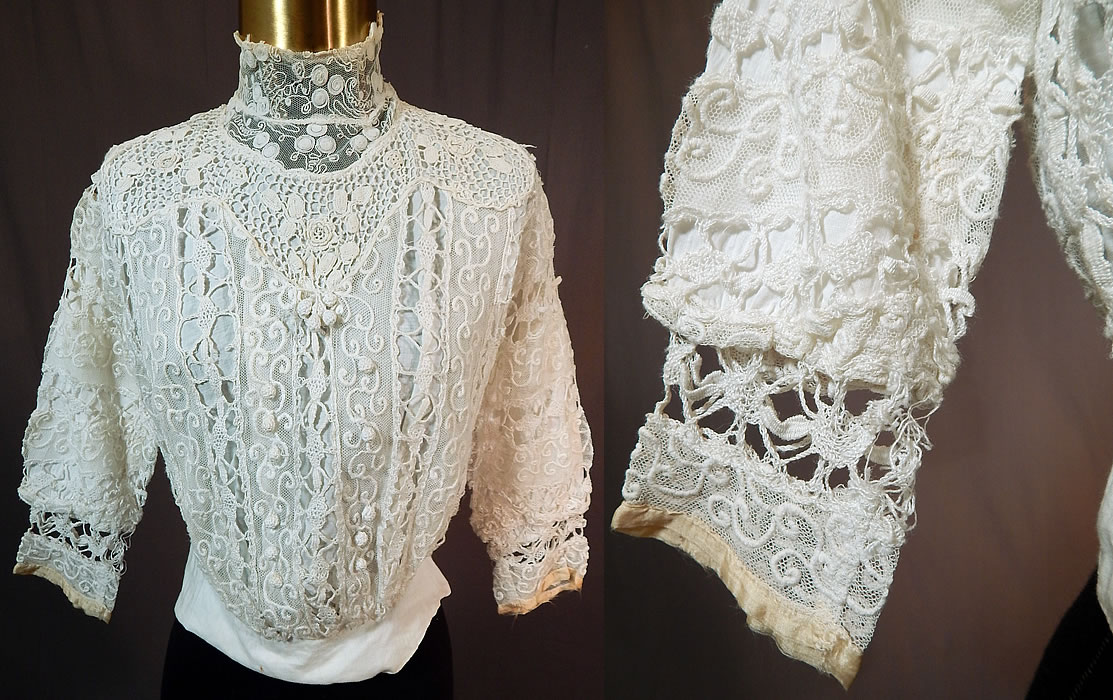 Edwardian Embroidered White Net Mixed Crochet Lace Bodice Blouse