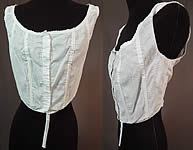 Vintage Edwardian White Cotton Camisole Corset Cover Stays Boning Bra Top