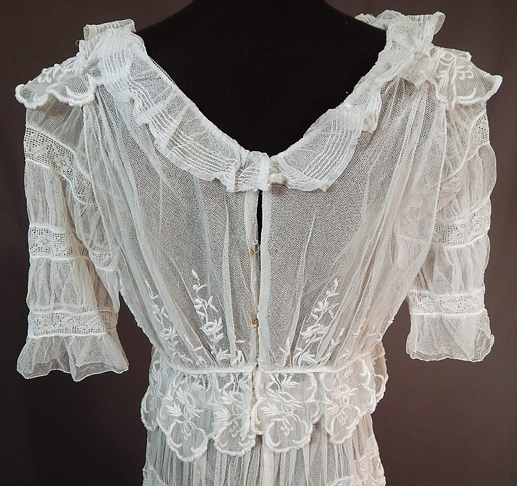Edwardian Embroidered White Tulle Net Filet Lace Peplum Tea Gown Dress