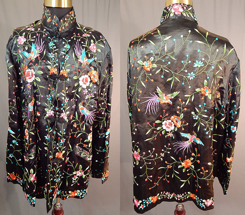 Vintage Plum Blossoms Chinese Black Silk Colorful Floral Bird Embroidered Jacket