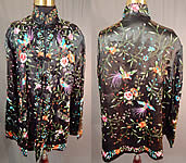 Vintage Plum Blossoms Chinese Black Silk Colorful Floral Bird Embroidery Jacket