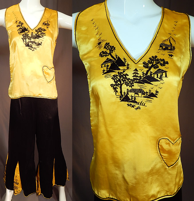 Vintage Chinese Black & Yellow Silk Embroidered Pajamas Palazzo Pants Robe Top