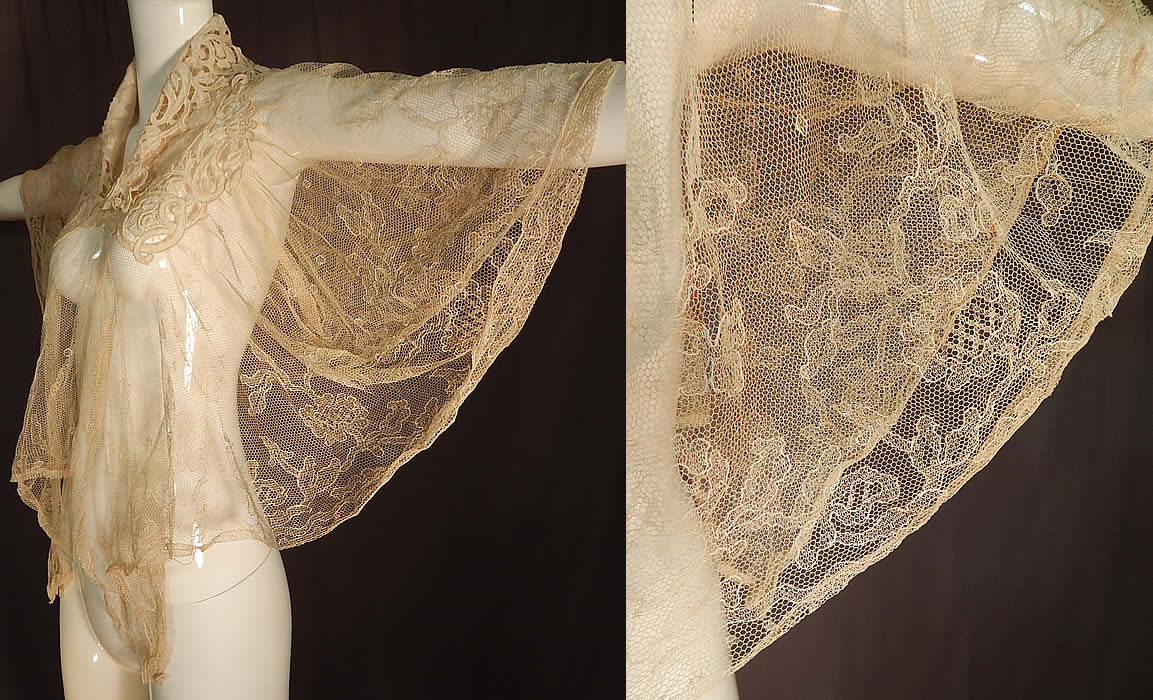 Victorian Embroidered Cream Tulle Net Lace Shawl Collar Wedding Cloak Cape