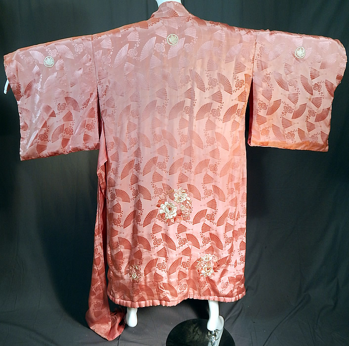 Vintage Japanese Pink Silk Damask Fan Floral Embroidered Mon Belted Kimono Robe