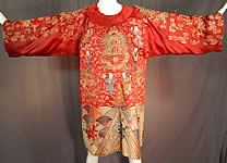 Antique Chinese Dragon Phoenix Gold Couching Embroidery Red Silk Opera Robe