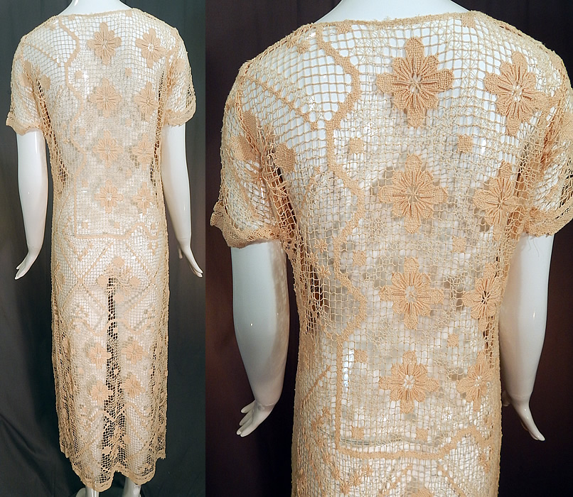 Vintage Boho Cream Crochet Lace Mesh Net Fishnet Side Slit Skirt Shift Dress