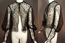Victorian Antique Black Chantilly Lace Shawl Jacket Leg of Mutton Gigot Sleeve