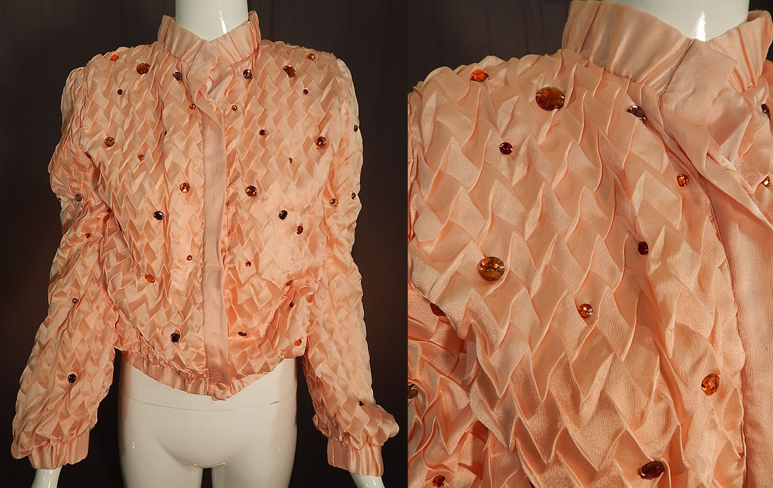 Vintage Krizia Martha Palm Beach Label Pink Silk Smocking Bejeweled Jacket
