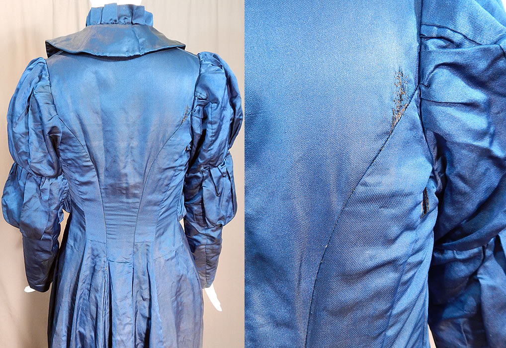 Victorian Royal Blue Silk Gigot Mutton Sleeve Morning Tea Gown Wrapper Robe Dress