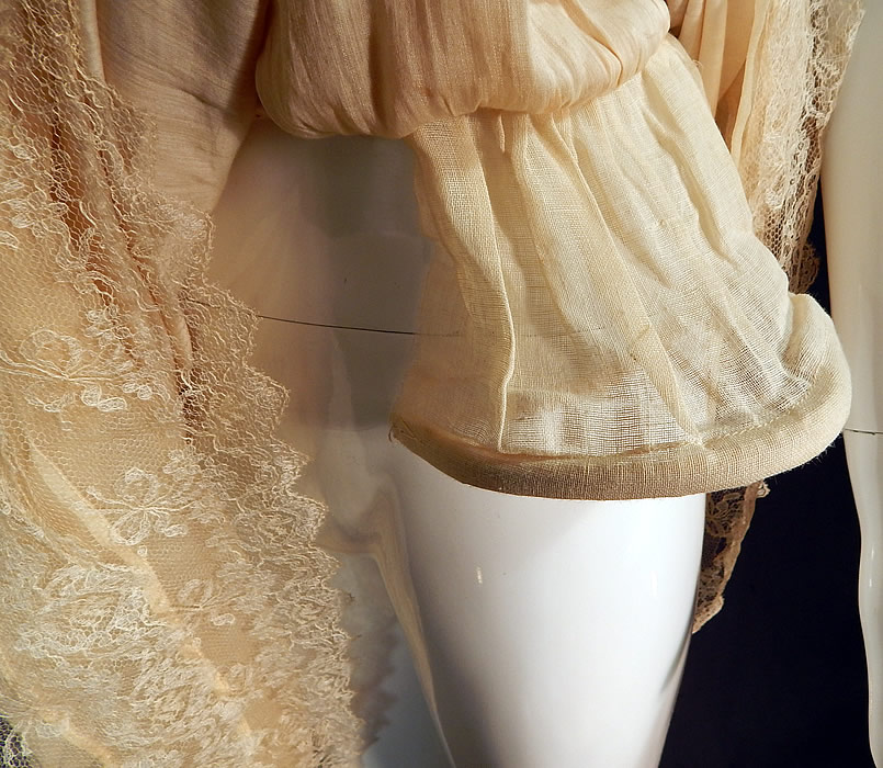 Vintage Robe de Style Yellow Cream Silk Rosette Ribbon Lace Pannier Hoop Dress