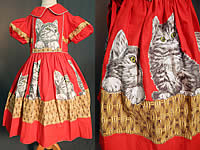 Vintage Girls Red Cotton Kitty Cat Kitten Basket Novelty Print Circle Skirt Dress