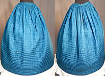 Victorian Bright Blue Silk Quilted Hand Stitched Winter Petticoat Hoop Skirt