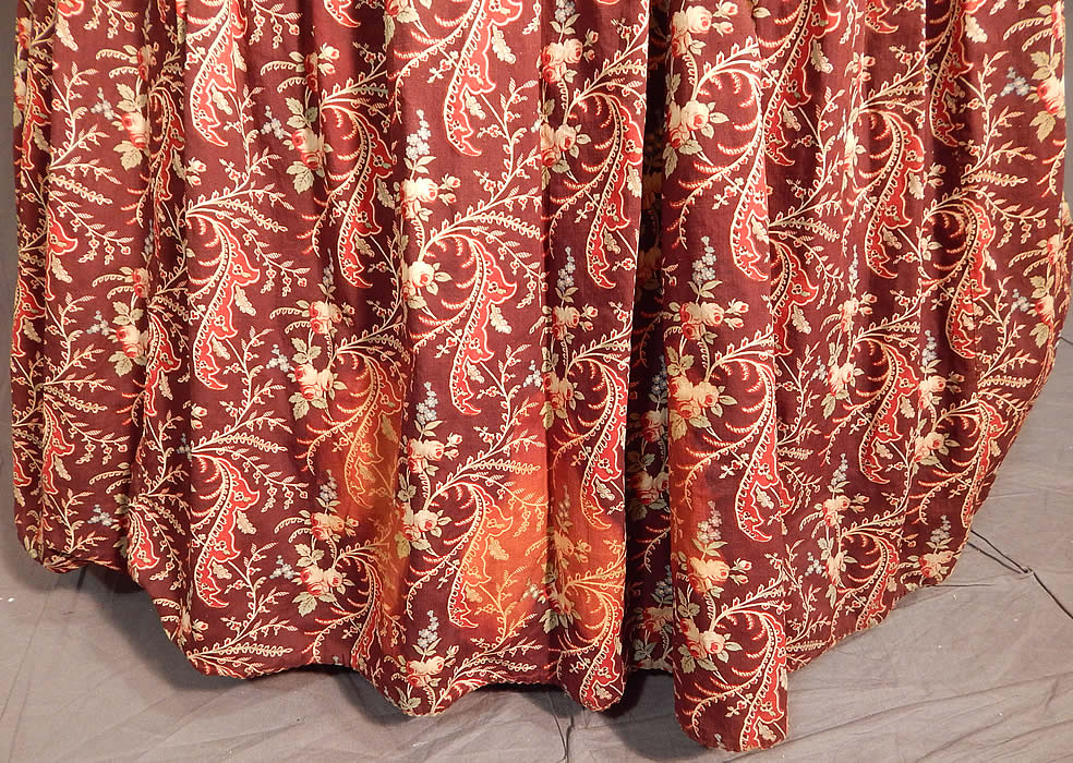 Victorian Civil War Era Chintz Calico Hoop Skirt Morning Wrapper Gown Dress