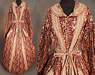Victorian Civil War Chintz Calico Hoop Skirt Belted Morning Wrapper Gown Dress