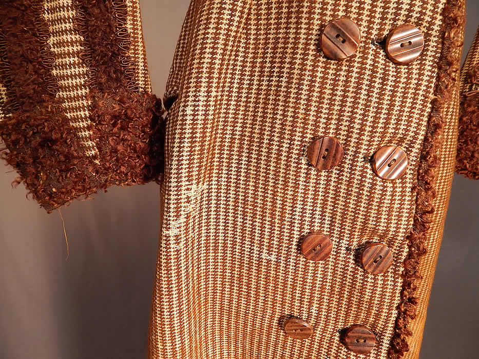 Victorian Brown Mohair Houndstooth Wool Winter Sport Ice Skating Coat & Cape