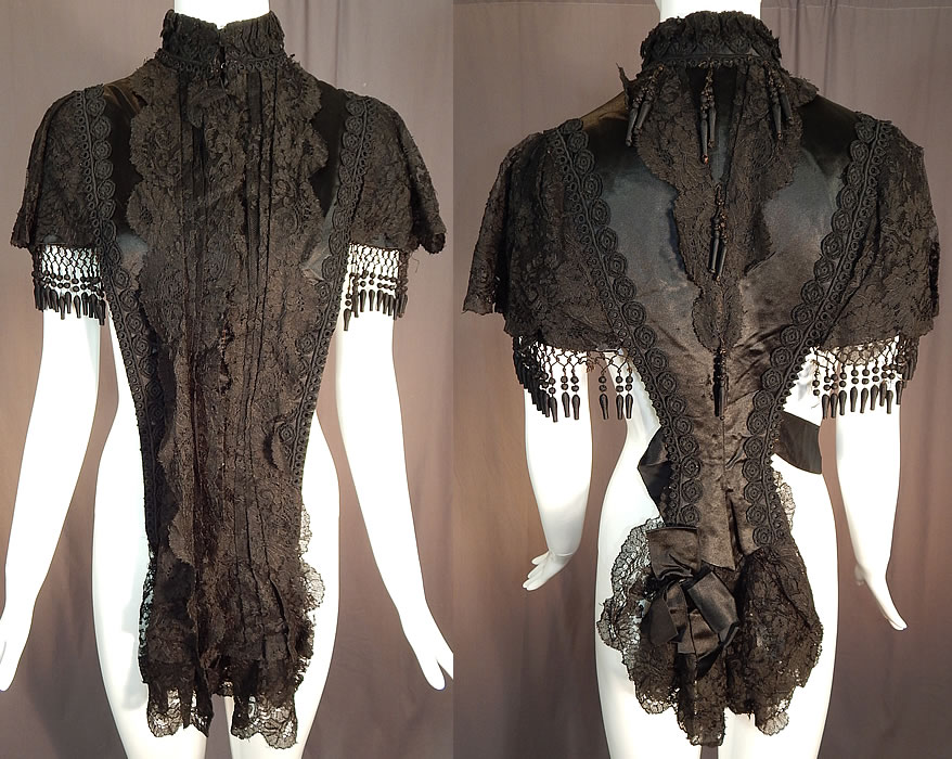 Victorian Black Silk Chantilly Lace Passementerie Mourning Mantle Pelerine Cape