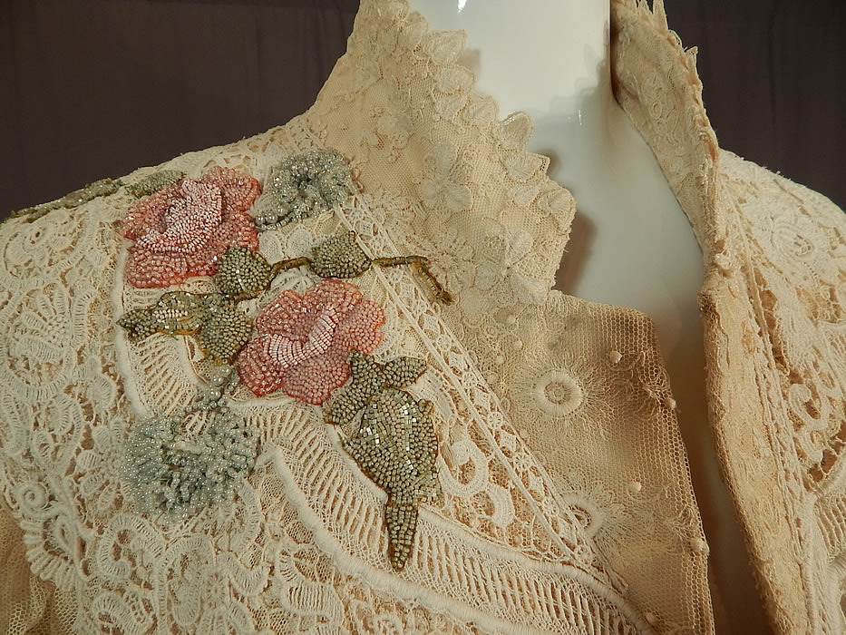 Vintage Antique Patchwork Cream Lace Floral Beaded Applique Trim Suit Jacket