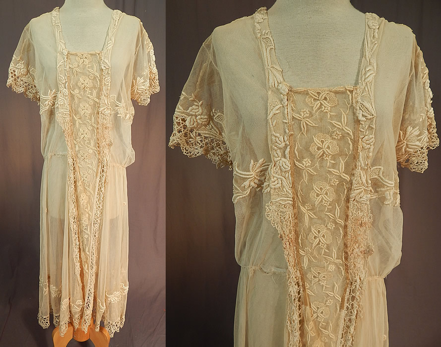 Vintage Cream Tulle Net French Knot Embroidered Floral Lace Drop Waist Dress