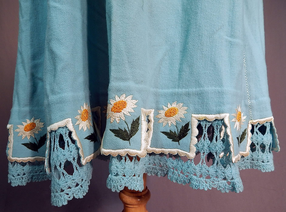 Victorian Robin Egg Blue Wool Embroidered Daisies Crochet Trim Petticoat Skirt