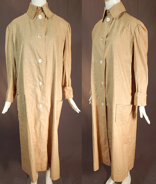 Edwardian Women's Linen Travel Motoring Driving Duster Coat Jacket