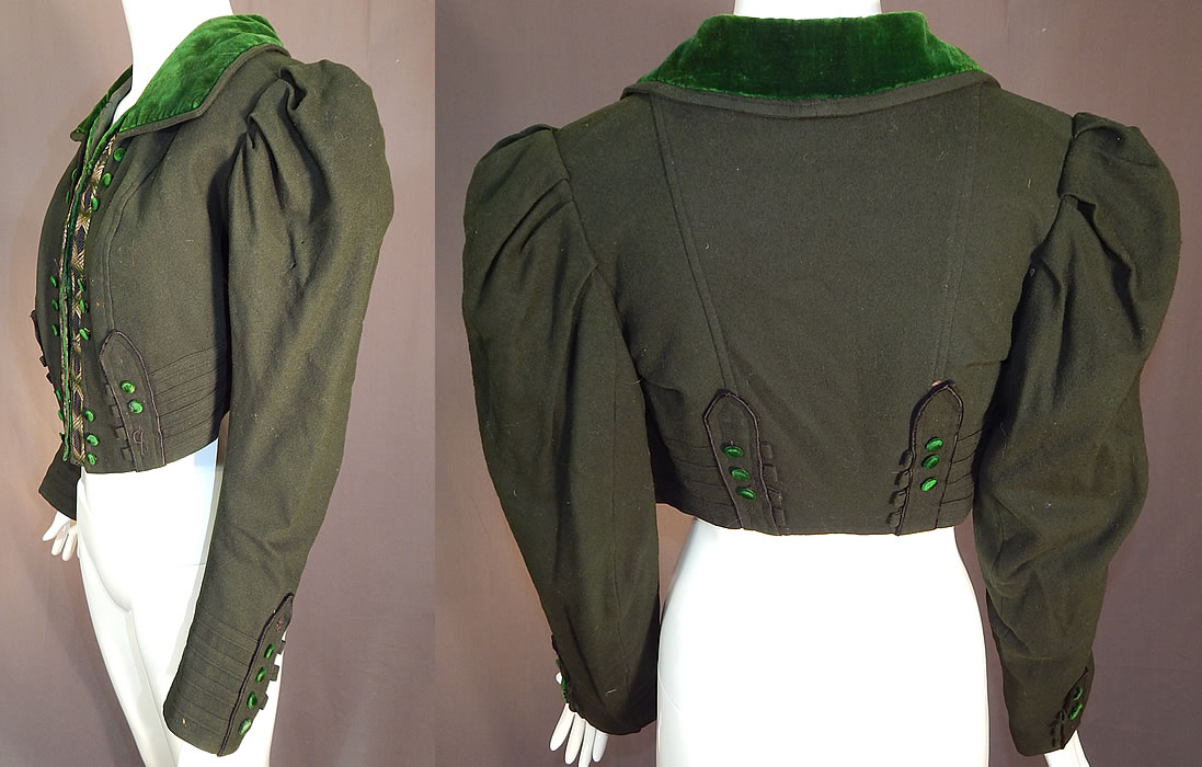 Victorian Dark Green Wool Velvet Trim Short Crop Coat Bolero Jacket