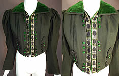 Victorian Dark Green Wool Velvet Trim Short Crop Coat Bolero Spencer Jacket