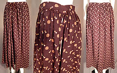Victorian Vintage Brown Circle Polka Dot Print Fine Wool Winter Petticoat Skirt