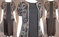 Vintage Art Deco Black Silk Crepe de Chine Multicolor Beaded Flapper Dress