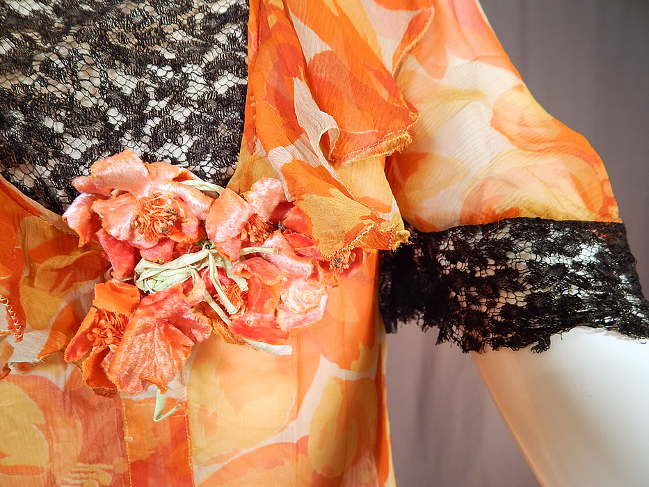 Vintage Floral Orange Blossom Print Silk Chiffon Black Lace Handkerchief Skirt Dress