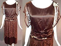 Vintage Brown Silk Lace Handkerchief Skirt Rosette Ribbon Trim Flapper Dress