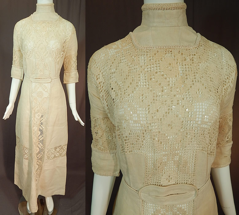 Edwardian Cream Color Linen Filet Lace Tea Gown Dress