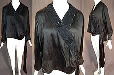Vintage Art Deco Black Silk Sequin Beaded Flapper Blouse Dress Shirt