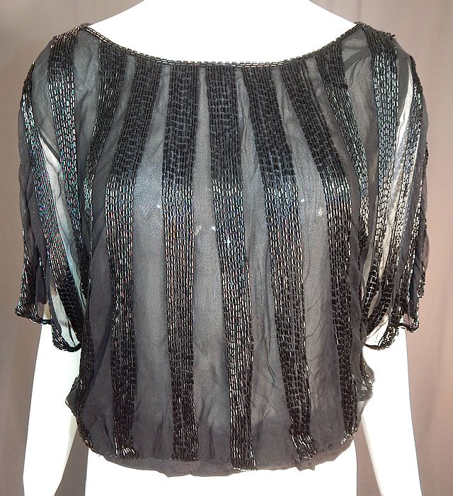 Vintage Art Deco Sheer Black Silk Beaded Batwing Sleeve Blouse Shirt Top