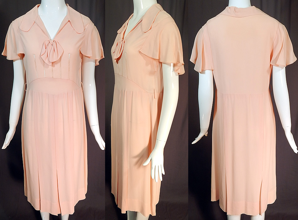 Vintage Pink Pastel Silk Crepe de Chine Drawn Work Cape Sleeve Day Dress