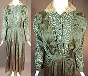 Edwardian Titanic Olive Green Silk Polka Dot Print Soutache Trim Pinafore Dress