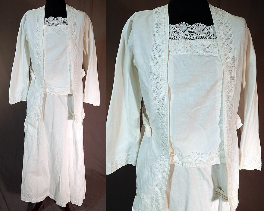 Edwardian White Cotton Cluny Bobbin Lace Walking Suit Jacket Blouse Skirt