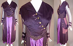 Edwardian Titanic Era Plum Purple Gold Embroidered Evening Gown Dress Vtg