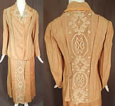 Edwardian Ecru Beige Linen Cream Cluny Lace Walking Suit Jacket Skirt Belt Vtg
